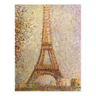Vintage Pointillism Art, Eiffel Tower by Seurat Postcard