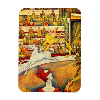 Vintage Pointillism Fine Art, The Circus by Seurat Rectangular Photo Magnet