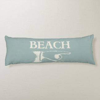 Vintage Pointing Beach Sign Body Cushion