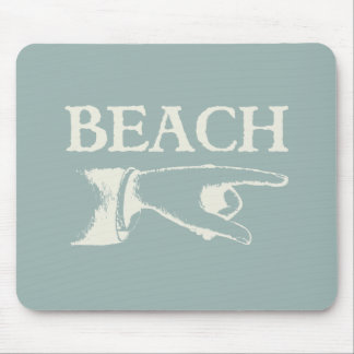Vintage Pointing Beach Sign Mouse Pad