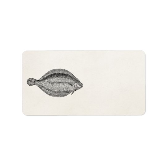 Vintage Pole Flounder Fish Personalised Template Label