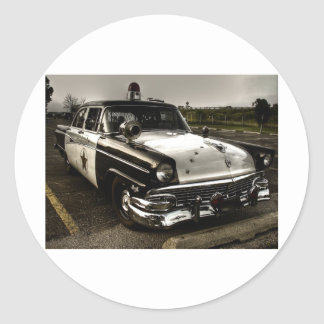 Vintage Police Car Classic Round Sticker