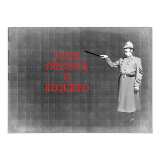 Vintage Police Man Illustration 14 Cm X 19 Cm Invitation Card