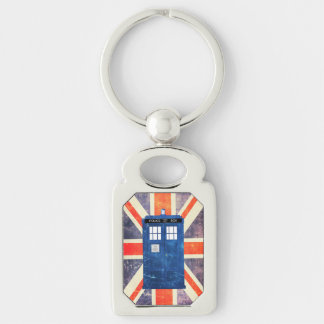 Vintage police phone box Union Jack flag Silver-Colored Rectangle Key Ring