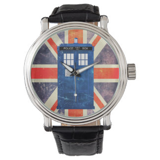 Vintage police phone box Union Jack flag Watches