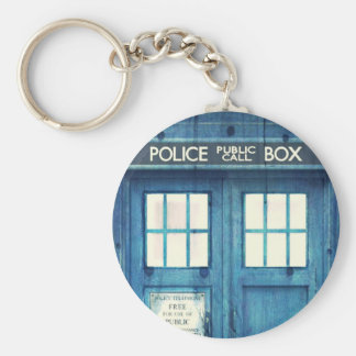 Vintage Police phone Public Call Box Basic Round Button Key Ring