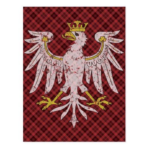 Vintage Polish Eagle Plaid Post Cards