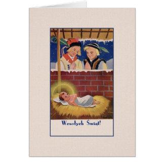 Vintage Polish Wesołyeh Świąt Christmas Card