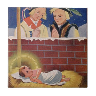 Vintage Polish Wesołyeh Świąt Christmas Retro Art Ceramic Tile