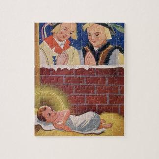 Vintage Polish Wesołyeh Świąt Christmas Retro Art Jigsaw Puzzle