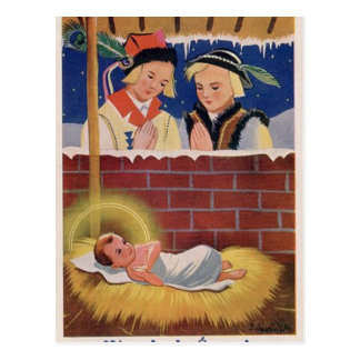 Vintage Polish Wesołyeh Świąt Christmas Retro Art Postcard