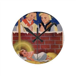 Vintage Polish Wesołyeh Świąt Christmas Retro Art Round Clock