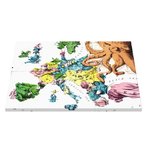 Vintage Political Cartoon Map of Europe (1877) Stretched Canvas Prints