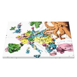 Vintage Political Cartoon Map of Europe (1877) Canvas Print
