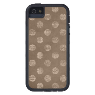 Vintage polka dot book page dots rustic chic brown tough xtreme iPhone 5 case
