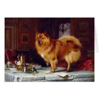 Vintage - Pomeranian Dog & the Breakfast Table, Card
