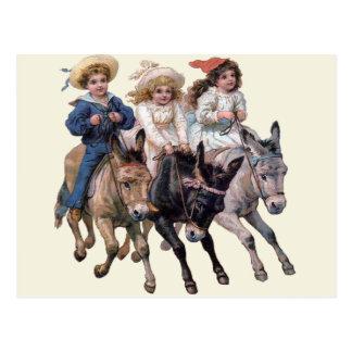 Vintage Ponies and Cute Children Postcard