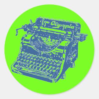 Vintage Pop Art Blue Typewriter Round Sticker
