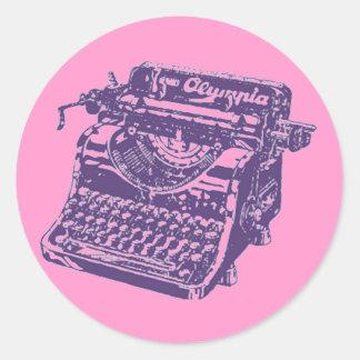Vintage Pop Art Purple Typewriter Sticker