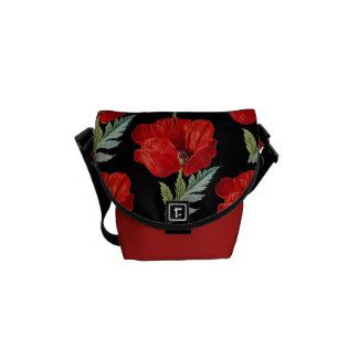 Vintage Poppies Flower Graphic Courier Bags