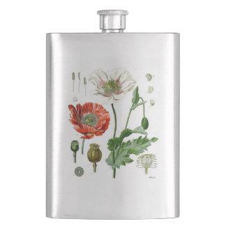 Vintage Poppies Hip Flask
