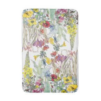 Vintage Poppy Iris Crocus Foxglove Floral Bath Mat