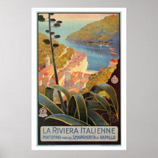 Vintage Portofino Italian Riviera travel poster