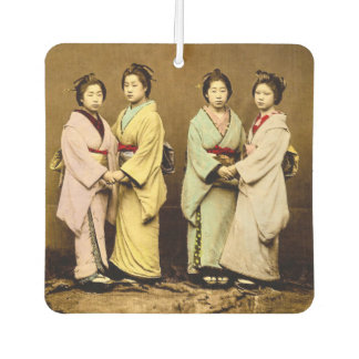 Vintage Portrait of Four Geisha Old Japan Car Air Freshener