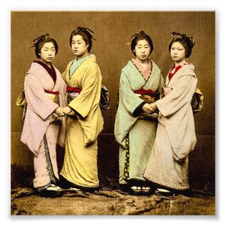 Vintage Portrait of Four Geisha Old Japan Photo Print