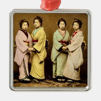 Vintage Portrait of Four Geisha Old Japan Silver-Colored Square Decoration
