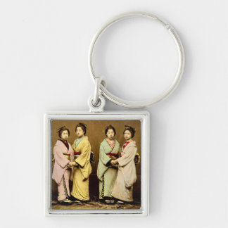 Vintage Portrait of Four Geisha Old Japan Silver-Colored Square Key Ring