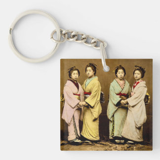 Vintage Portrait of Four Geisha Old Japan Single-Sided Square Acrylic Key Ring