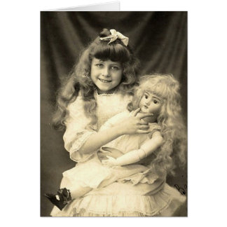 Vintage Portrait Young Girl with Doll Card