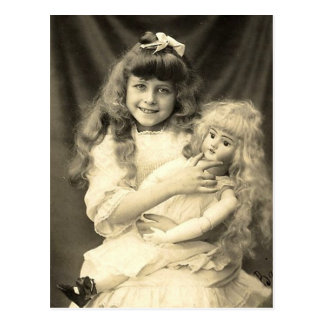 Vintage Portrait Young Girl with Doll Postcard