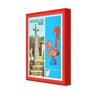 Vintage Portugal Cross and Cockerel of Barcelos Stretched Canvas Print