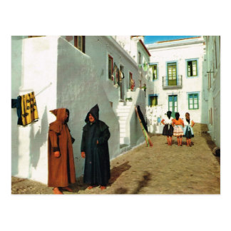 Vintage Portugal,  Nazare, Widowers, white houses Postcard