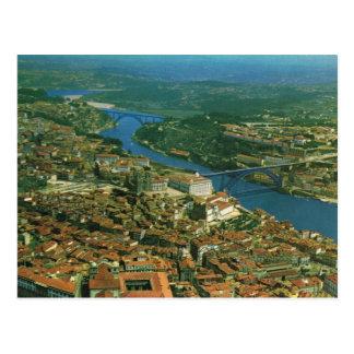 Vintage Portugal,  Porto, city and River Douro Postcard