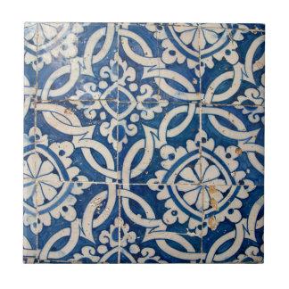 Vintage portuguese azulejo ceramic tile
