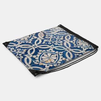 Vintage portuguese azulejo drawstring bag
