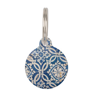 Vintage portuguese azulejo pet ID tag