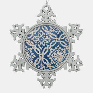 Vintage portuguese azulejo snowflake pewter christmas ornament