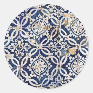Vintage Portuguese Azulejo Round Stickers