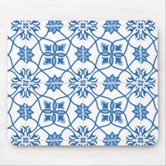 Vintage Portuguese Azulejo Tile Pattern Mouse Pad
