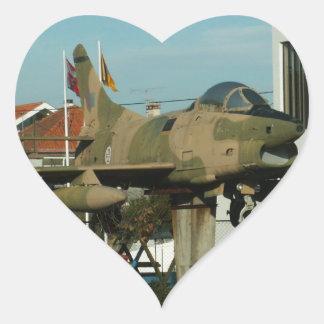 Vintage Portuguese Fighter Jet Heart Sticker