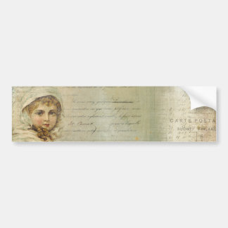 Vintage Post and Little Girl Script Collage Bumper Sticker