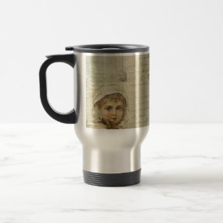 Vintage Post and Little Girl Script Collage Stainless Steel Travel Mug