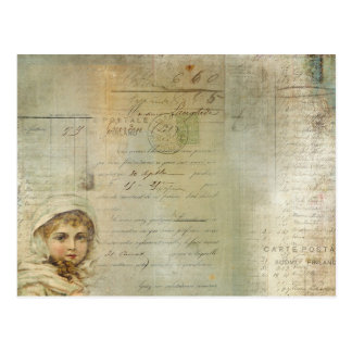 Vintage Post and Little Girl Script Collage Postcard