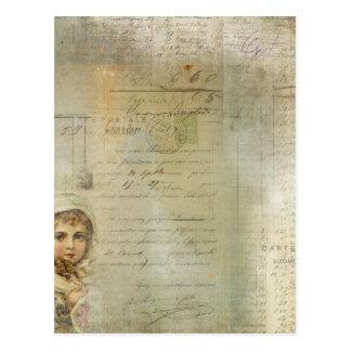 Vintage Post and Little Girl Script Collage Postcard
