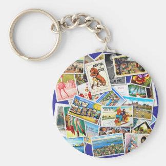 Vintage Post Card Collage Key Ring