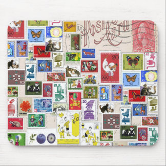 Vintage post card colourful  stamps collection mouse pads